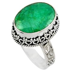 11.45cts natural green emerald 925 sterling silver solitaire ring size 9 r9826
