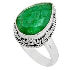 6.32cts natural green emerald 925 sterling silver solitaire ring size 7.5 r9835