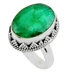 925 sterling silver 10.68cts natural green emerald solitaire ring size 7 r9836