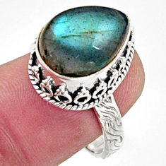 6.62cts natural blue labradorite 925 silver solitaire ring jewelry size 8 r9837
