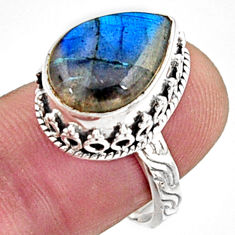6.48cts natural blue labradorite 925 silver solitaire ring jewelry size 8 r9838