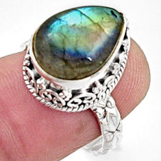6.48cts natural blue labradorite 925 silver solitaire ring jewelry size 7 r9840