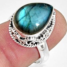 6.63cts natural blue labradorite 925 sterling silver solitaire ring size 7 r9844