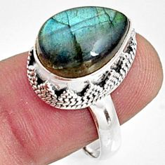 7.02cts natural blue labradorite 925 silver solitaire ring size 8.5 r9845