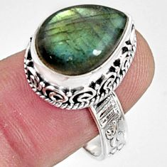 925 silver 7.02cts natural blue labradorite solitaire ring jewelry size 9 r9848