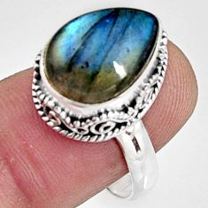 7.02cts natural blue labradorite 925 silver solitaire ring size 8.5 r9849