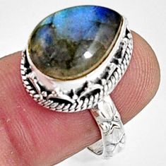 6.95cts natural blue labradorite 925 silver solitaire ring jewelry size 8 r9850