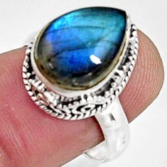6.57cts natural blue labradorite 925 silver solitaire ring jewelry size 8 r9851