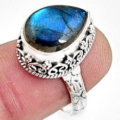 925 silver 6.32cts natural blue labradorite pear solitaire ring size 7.5 r9858