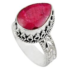 925 sterling silver 7.33cts natural red ruby solitaire ring jewelry size 9 r9864