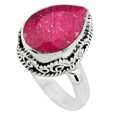 6.53cts natural red ruby 925 sterling silver solitaire ring jewelry size 7 r9873
