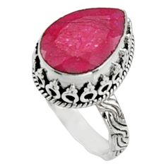 925 sterling silver 6.74cts natural red ruby solitaire ring jewelry size 8 r9874
