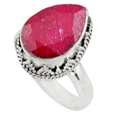 6.90cts natural red ruby 925 sterling silver solitaire ring size 8.5 r9876