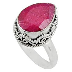 925 sterling silver 6.94cts natural red ruby solitaire ring size 8.5 r9878