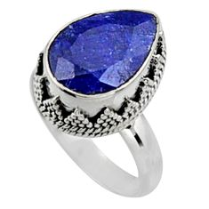 6.55cts natural blue sapphire 925 silver solitaire ring jewelry size 8.5 r9881