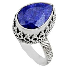 6.54cts natural blue sapphire 925 silver solitaire ring jewelry size 8 r9883
