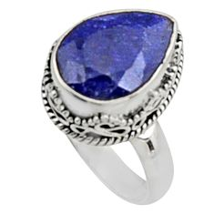 925 silver 6.76cts natural blue sapphire pear solitaire ring size 7.5 r9884