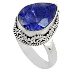 6.54cts natural blue sapphire 925 sterling silver solitaire ring size 7 r9885