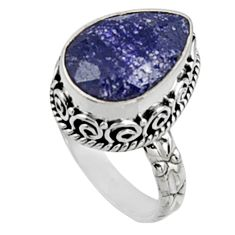 6.53cts natural blue sapphire 925 sterling silver solitaire ring size 7 r9886