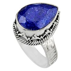 6.35cts natural blue sapphire 925 sterling silver solitaire ring size 7.5 r9887