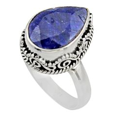 925 sterling silver 6.54cts natural blue sapphire solitaire ring size 8.5 r9888