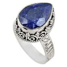 6.55cts natural blue sapphire 925 sterling silver solitaire ring size 8 r9889