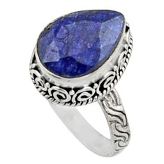 6.76cts natural blue sapphire 925 sterling silver solitaire ring size 8.5 r9891