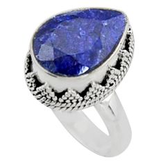 6.55cts natural blue sapphire 925 sterling silver solitaire ring size 7.5 r9892