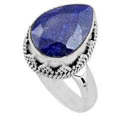 925 sterling silver 6.34cts natural blue sapphire solitaire ring size 7.5 r9894