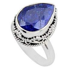 6.36cts natural blue sapphire 925 sterling silver solitaire ring size 8.5 r9895