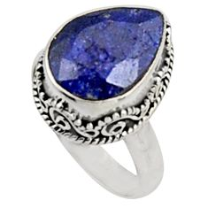 6.69cts natural blue sapphire 925 sterling silver solitaire ring size 8 r9896
