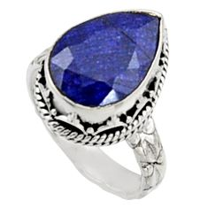 6.53cts natural blue sapphire 925 sterling silver solitaire ring size 7.5 r9897