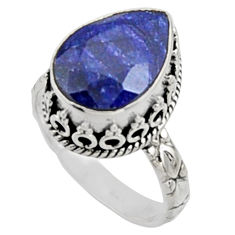 925 sterling silver 6.69cts natural blue sapphire solitaire ring size 8 r9898