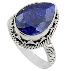 6.68cts natural blue sapphire 925 sterling silver solitaire ring size 8 r9899