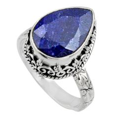 6.76cts natural blue sapphire 925 sterling silver solitaire ring size 8 r9900