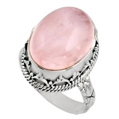 11.54cts natural pink morganite 925 silver solitaire ring jewelry size 7 r9901