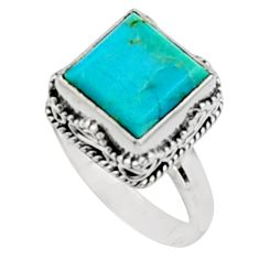 5.63cts green arizona mohave turquoise 925 silver solitaire ring size 8.5 r9912