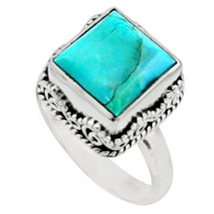 5.63cts green arizona mohave turquoise 925 silver solitaire ring size 8.5 r9913