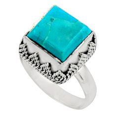 5.96cts green arizona mohave turquoise 925 silver solitaire ring size 8.5 r9918