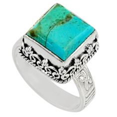 5.63cts green arizona mohave turquoise 925 silver solitaire ring size 8 r9919