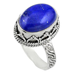 6.96cts natural blue lapis lazuli 925 silver solitaire ring jewelry size 8 r9922