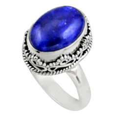 6.54cts natural blue lapis lazuli 925 silver solitaire ring jewelry size 9 r9923