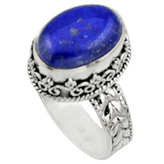 925 silver 6.72cts natural blue lapis lazuli oval solitaire ring size 8.5 r9924