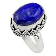 6.54cts natural blue lapis lazuli 925 silver solitaire ring jewelry size 8 r9925