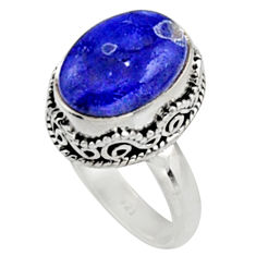 6.89cts natural blue lapis lazuli 925 silver solitaire ring jewelry size 8 r9927