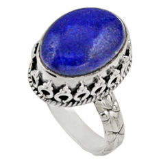 6.54cts natural blue lapis lazuli 925 silver solitaire ring size 8.5 r9930