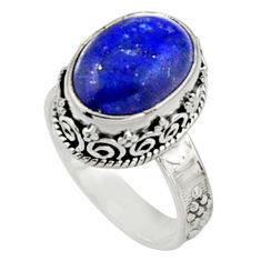 6.54cts natural blue lapis lazuli 925 silver solitaire ring jewelry size 8 r9931