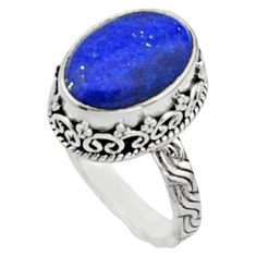 6.30cts natural blue lapis lazuli 925 silver solitaire ring jewelry size 8 r9934