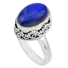 925 silver 6.53cts natural blue lapis lazuli oval solitaire ring size 8.5 r9937