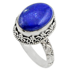 925 silver 6.53cts natural blue lapis lazuli solitaire ring jewelry size 8 r9940